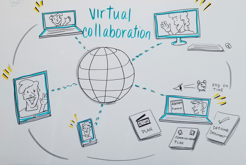graphic illustration of a virtual meeting
