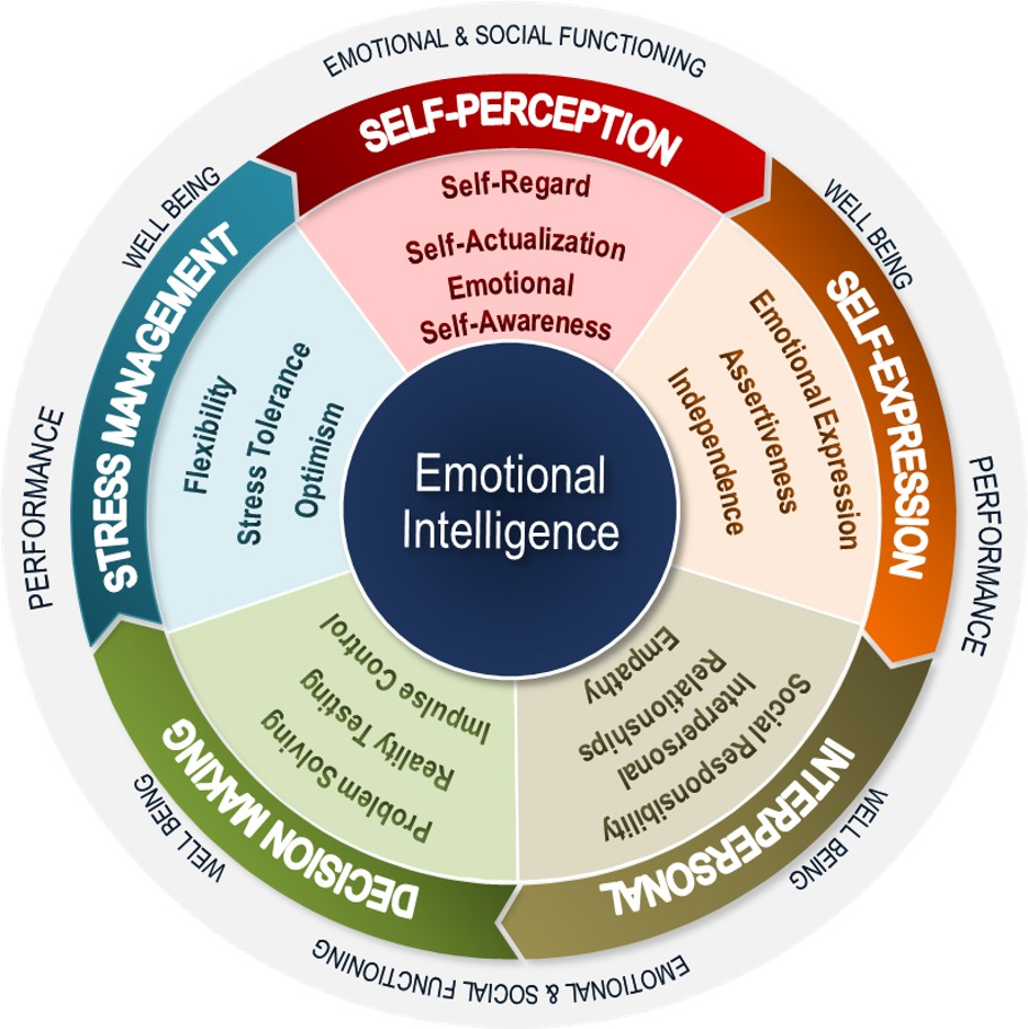Wheel showing the 5 aspects of emotional intelligence
