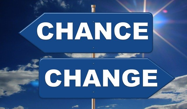 Image of signpost with Change in one direction and Chance in the other